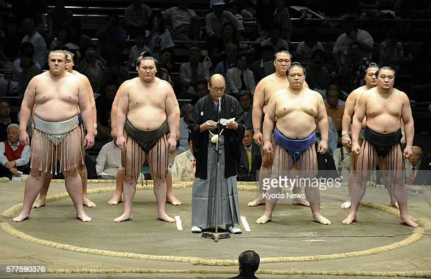 TOKYO Japan Japan Sumo Association Chairman Hanaregoma speaks on the dohyo ring as a 15day May Technical Examination Tournament wrapped up at Ryogoku...