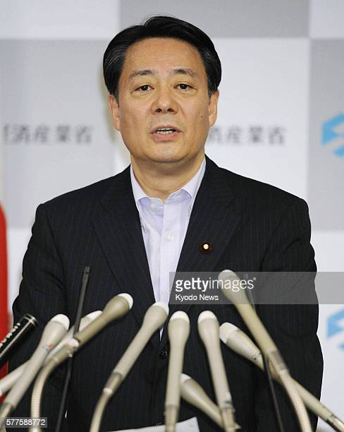 TOKYO Japan Japanese Economy Trade and Industry Minister Banri Kaieda speaks during a press conference at the economy ministry in Tokyo on May 17...