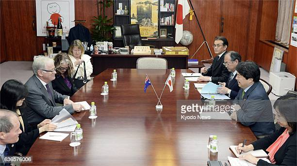 TOKYO Japan Japanese farm minister Yoshimasa Hayashi and Australian trade minister Andrew Robb holds talks over a bilateral free trade agreement at...