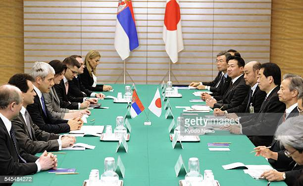 TOKYO Japan Japanese Prime Minister Naoto Kan and Serbian President Boris Tadic meet at the premier's office in Tokyo on March 8 2011 They agreed...
