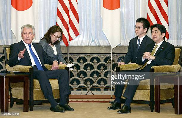 TOKYO Japan Japanese Prime Minister Shinzo Abe and US Defense Secretary Chuck Hagel hold talks at the prime minister's official residence in Tokyo on...