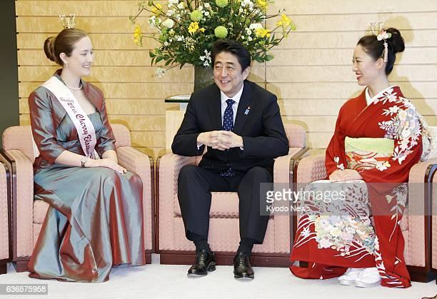 TOKYO Japan Japanese Prime Minister Shinzo Abe meets Japan cherry blossom queen Chihiro Konishi and Hamburg cherry blossom princess Miriam Rossmann...