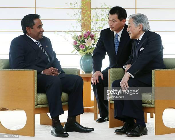 TOKYO Japan Japan's Emperor Akihito meets Maldives President Abdulla Yameen at the Imperial Palace in Tokyo on April 15 2014
