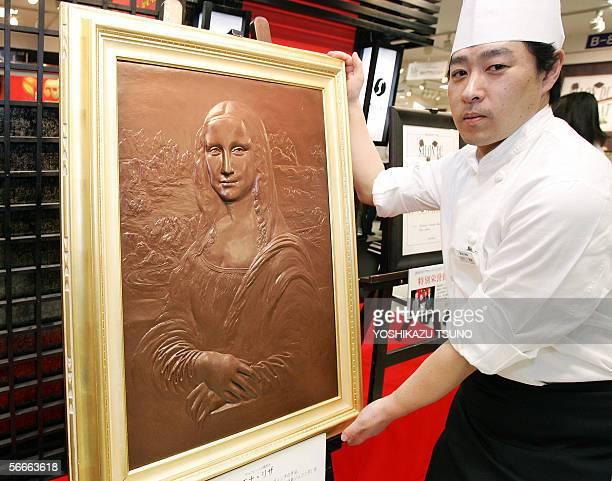 Jun Kobayashi chocolatier of Japan's Mary Chocolate displays a choclate made Leonard da Vinci's masterpiece Mona Lisa real scale reproduction...