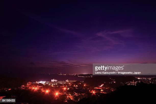 japan, kanagawa prefecture, zushi city, cityscape at night, high angle view - zushi kanagawa stock photos and pictures