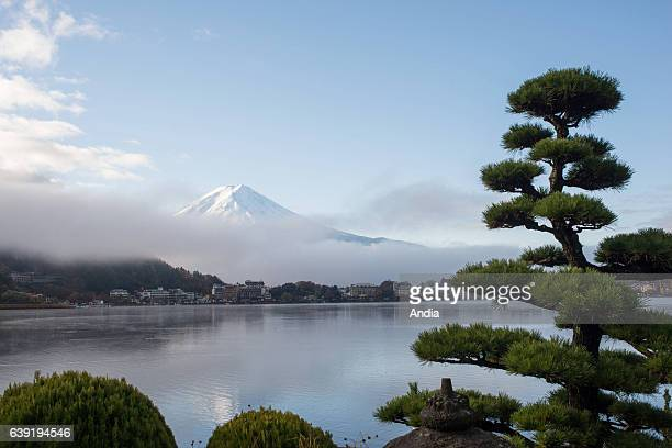 Kawaguchiko lake in FujiHakoneIzu national park in Chubu area on Honshu island in the background mount Fujit