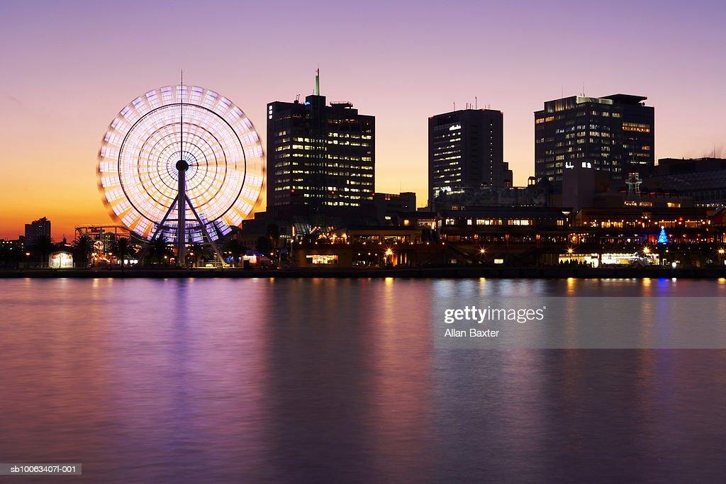 Japan, Kobe, Kobe Harbour skyline at sunset (long exposure) : Stock Photo