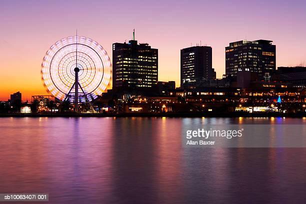 Japan, Kobe, Kobe Harbour skyline at sunset (long exposure)