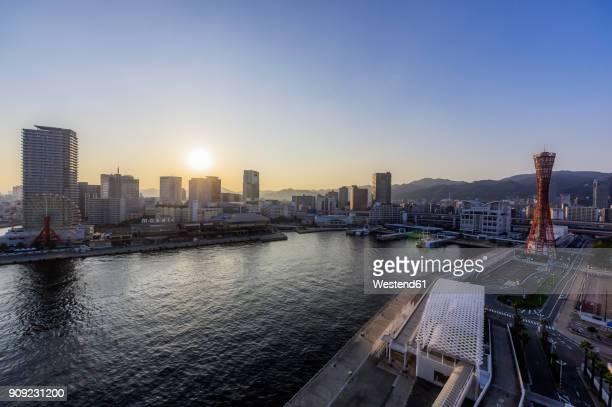 japan, kobe, seaport at sunset - 神戸市 ストックフォトと画像