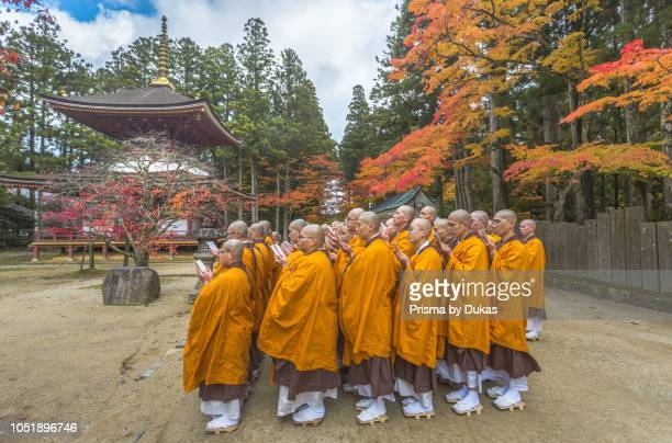 Japan Koyasan CityKongobuji Temple Monks Praying