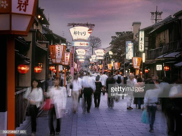 Japan, Kyoto, Gion District, crowds walking in Myako Odori