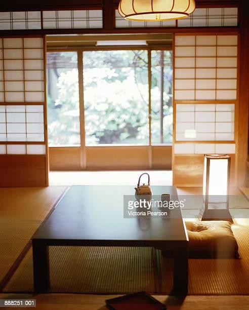 Japan, Kyoto, Myoken-ji Temple,  tea room with tatami floor mats