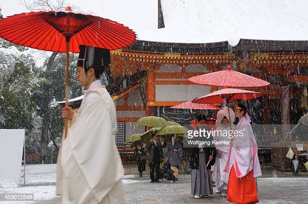Japan Kyoto Yasaka Shrine In Snow Traditional Shinto Wedding Party