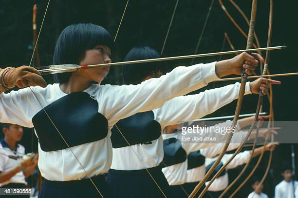 Japan Kyushu Archers taking part in Kaseda Samurai Festival Archery or Kyudo or Way of the Bow has close associations with Zen Buddhism