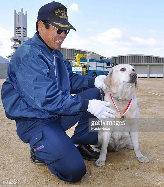 TAKAMATSU Japan Labrador retriever Kinako who became a police dog after six years of failing the test sits next to trainer Shinji Kameyama wearing a...