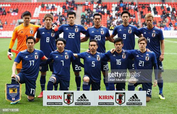 Japan line up during the International Friendly match between Japan and Ukraine at Stade Maurice Dufrasne on March 27 2018 in Liege Belgium