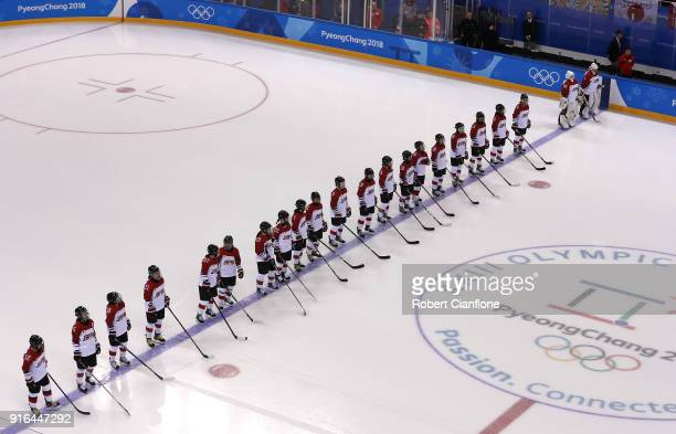 Japan line up for the Women's Ice Hockey Preliminary Round Group B match between Japan and Sweden on day one of the PyeongChang 2018 Winter Olympic...