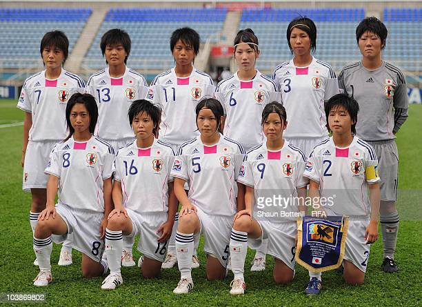 Japan lineup before the FIFA U17 Women's World Cup Group C match between Spain and Japan at the Ato Boldon Stadium on September 6 2010 in Couva...
