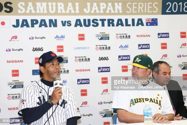 Japan Manager Atsunori Inaba and Australia Manager Steven Fish spekes during a official press conference ahead of the baseball match between Japan...