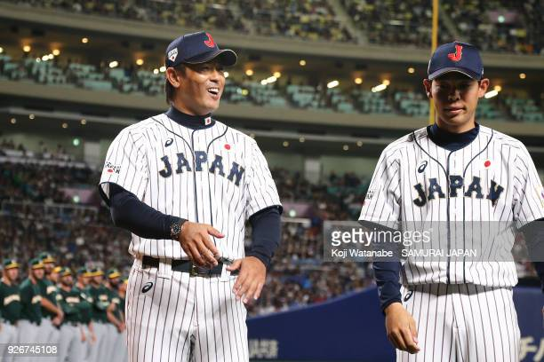 Japan Manager Atsunori Inaba celerates during the game one of the baseball international match between Japan And Australia at the Nagoya Dome on...