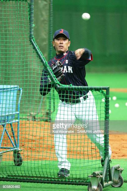 Japan Manager Atsunori Inaba in actin during a Japan training session at the Nagoya Dome on March 1 2018 in Nagoya Aichi Japan