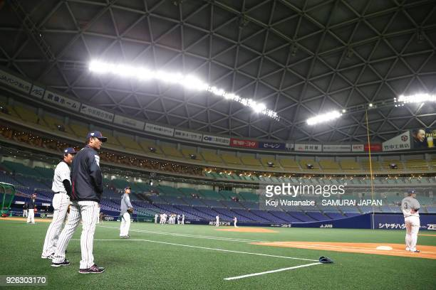 Japan Manager Atsunori Inaba in action during a Japan training session at the Nagoya Dome on March 2 2018 in Nagoya Aichi Japan