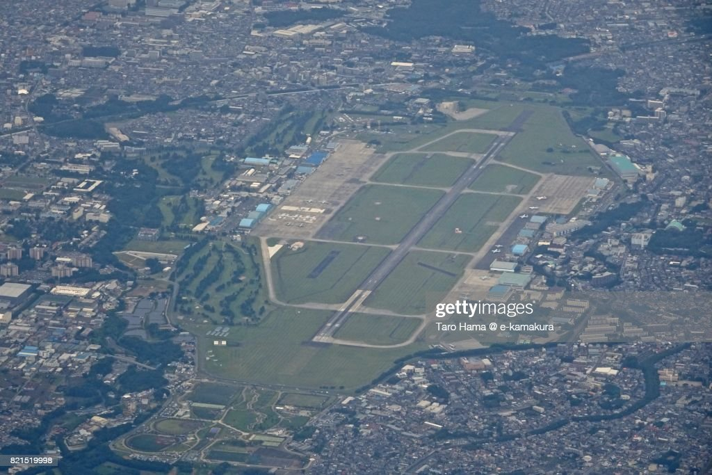 Japan Maritime Self-Defense Force Atsugi Air Base daytime aerial view from airplane : ストックフォト