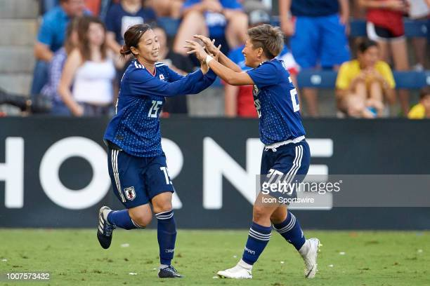 Japan midfielder Moeno Sakaguchi celebrates her goal with Japan forward Kumi Yokoyama and teammates in game action during a Tournament of Nations...