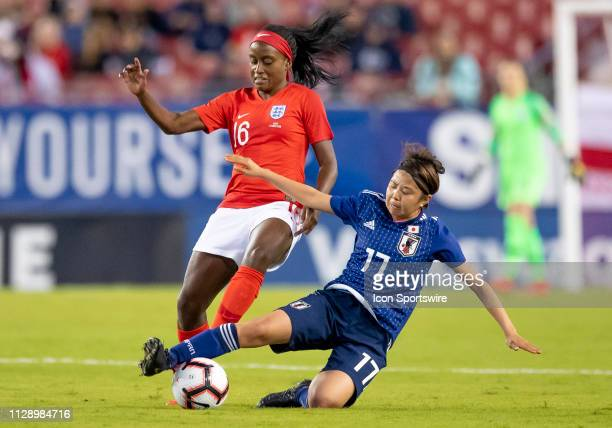 Japan midfielder Narumi Miiura and England forward Chioma Ubogagu during the She Believes Cup match between the Japan and England on March 5 2019 at...