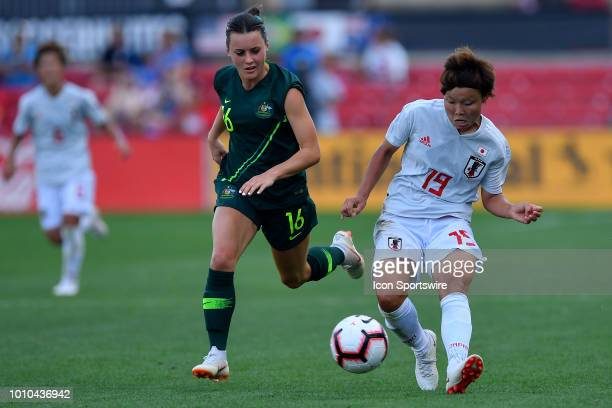 Japan midfielder Rika Masuya passes the ball against Australia forward Hayley Raso during the 2018 Tournament Of Nations between Australia and Japan...