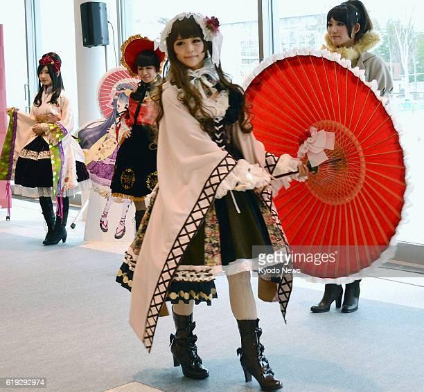 KANAZAWA Japan Models attend a fashion show in Kanazawa Ishikawa Prefecture on March 2 featuring dresses with the socalled Lolita cute style using...