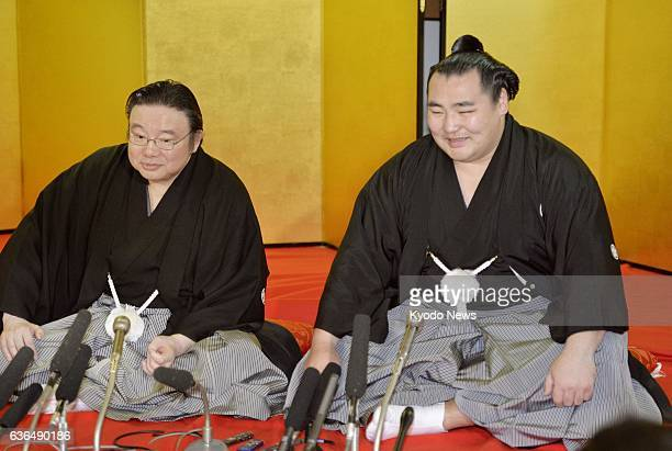 OSAKA Japan Mongolianborn Kakuryu holds a press conference after a ceremony to receive a message informing him of his promotion to yokozuna sumo's...