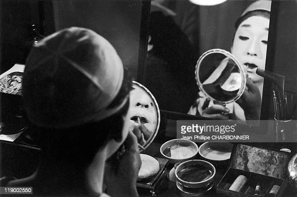 Japan Mr Otani A Kabuki Theatre Actor Doing His MakeUp