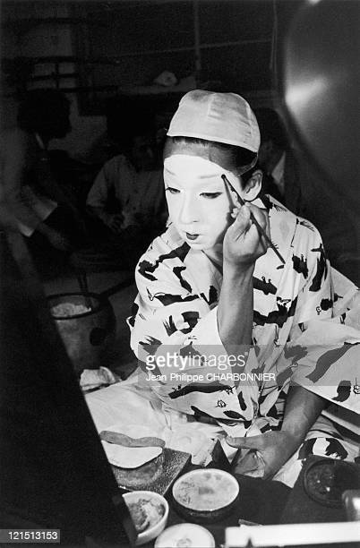 Japan Mr Otani A Kabuki Theatre Actor Putting On MakeUp