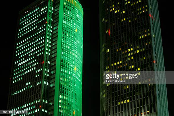Japan, Nagoya, low angle view of skyscrapers illuminated at night