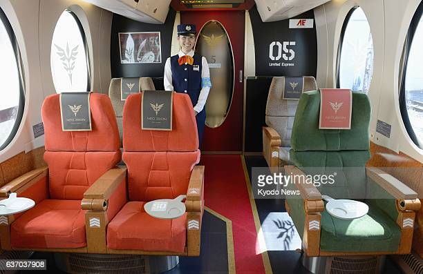 OSAKA Japan Nankai Electric Railway Co unveils three special seats set up inside the limited express train Rapit to create an atmosphere associated...