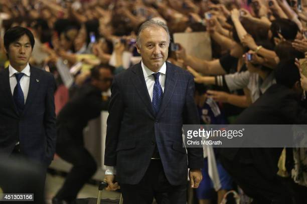 Japan national football coach Alberto Zaccheroni is seen upon arrival back from the World Cup 2014 Brazil at Narita International Airport on June 27,...