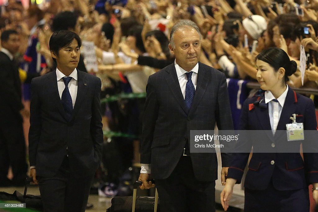 Japan national football coach Alberto Zaccheroni is seen upon arrival back from the World Cup 2014 Brazil at Narita International Airport on June 27, 2014 in Narita, Japan.