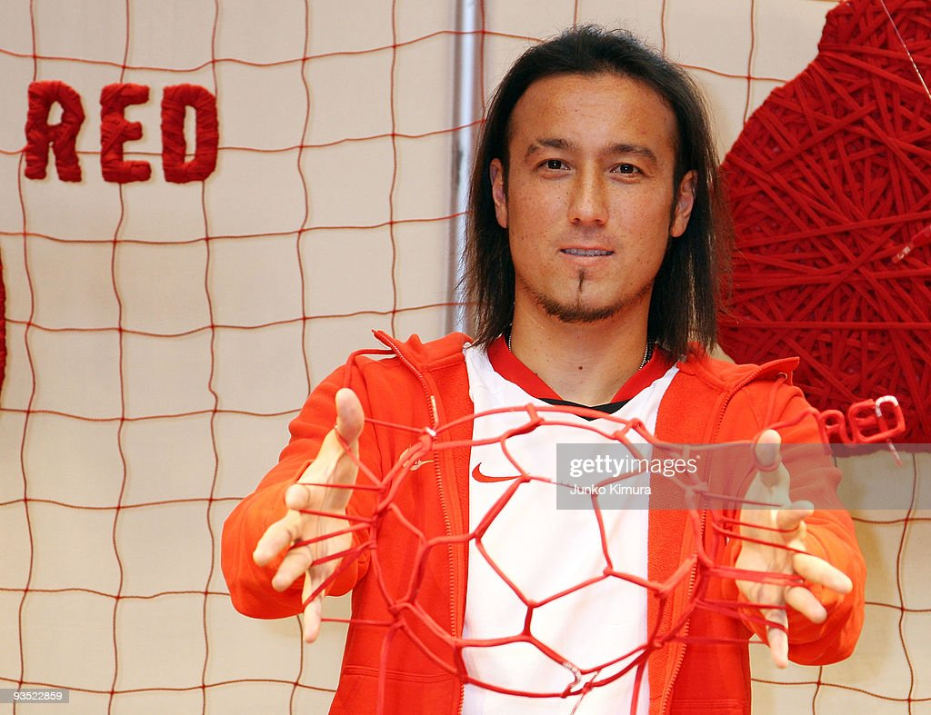 Japan National Team football player Tulio Marcus Tanaka attends an event to  celebrates the new Nike