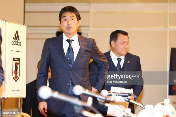 Japan national team new head coach Hajime Moriyasu and Football Association President KozoTashima attends a press conference on July 26 2018 in Tokyo...
