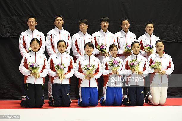 Japan national team pose for photograph after the day two of the Trampoline Japan National Team Trial for The Trampoline World Championships 2015 at...