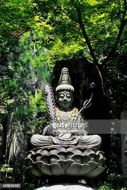 Japan Near Hiroshima Miyajima Island Daishoin Temple Buddha On Lotus Leaf