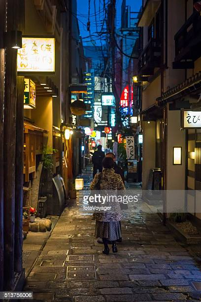 Japan nightlife warm lamplight quiet cobbled alley restaurants Osaka Japan