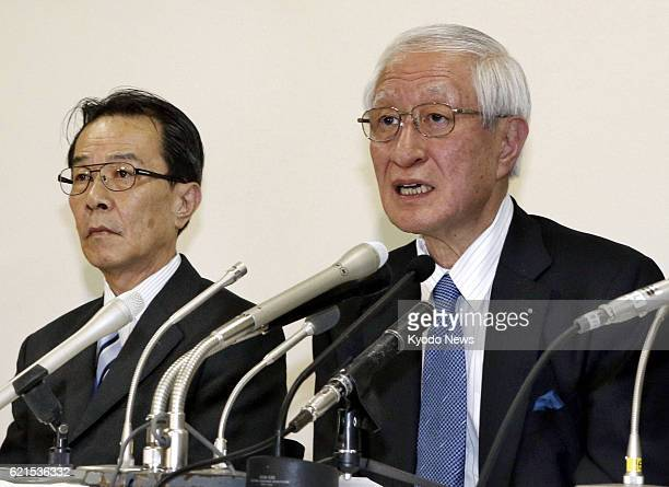 TOKYO Japan Nippon Professional Baseball commissioner Ryozo Kato attends a press conference in Tokyo on June 12 with NPB secretary general Kunio...