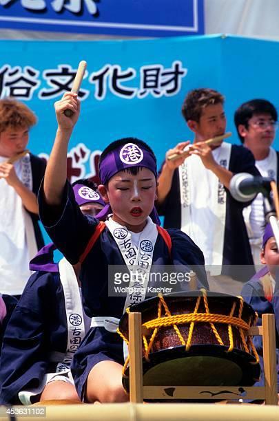Japan Okayama Korakuen Garden Local Boy In Orchestra Playing Traditional Japenese Drum