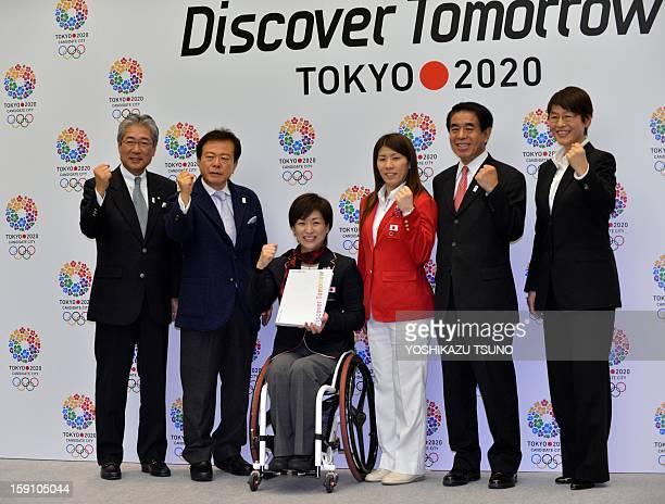 Japan Olympic Committee president Tsunekazu Takeda Tokyo Governor Naoki Inose Paralympic gold medallist Wakako Tsuchida Olympic gold medallist Saori...