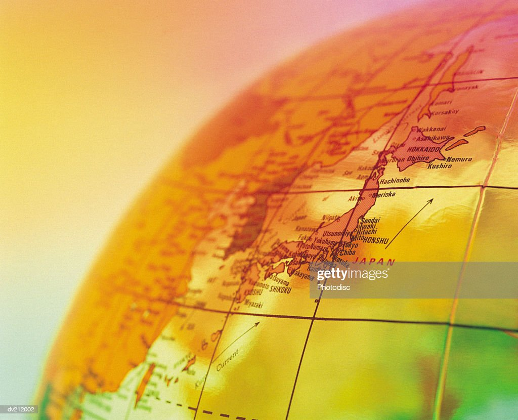 Japan on portion of globe : Stock Photo