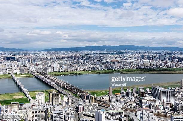 Japan, Osaka, Cityscape and Yodo river