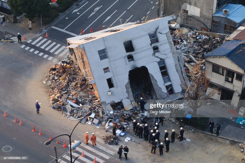 Japan, Osaka, Kobe, building destroyed by earthquake, elevated view : News Photo