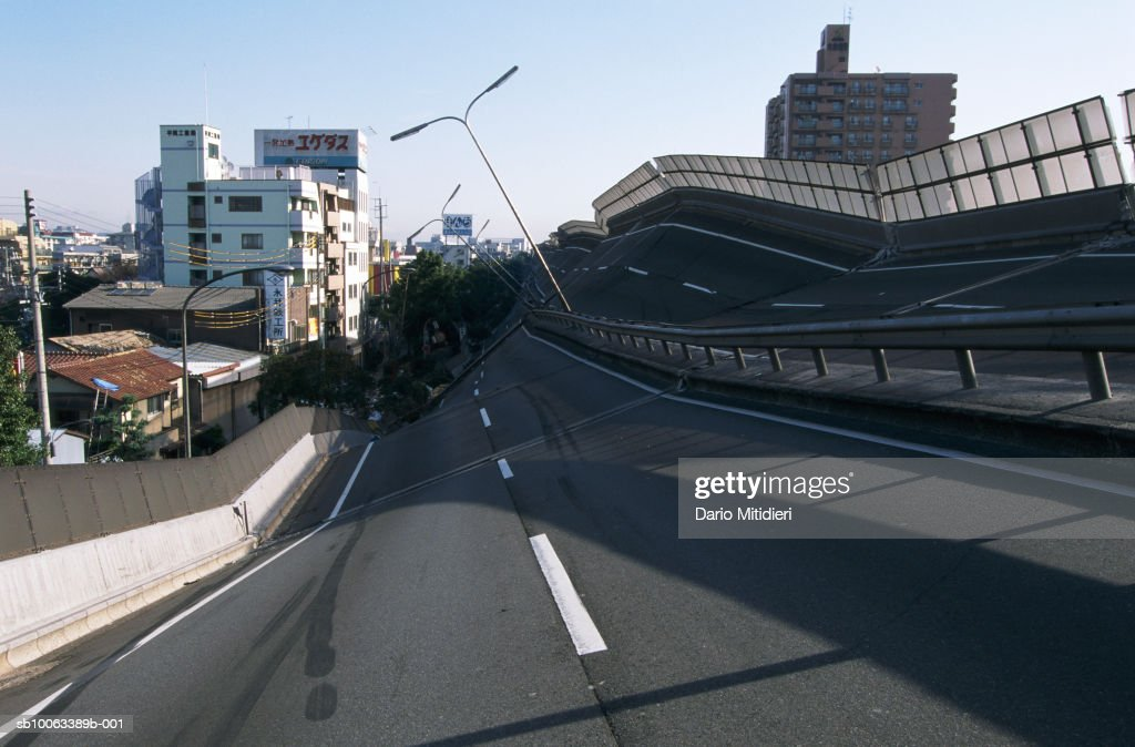Japan, Osaka, Kobe, highway destroyed by earthquake : News Photo